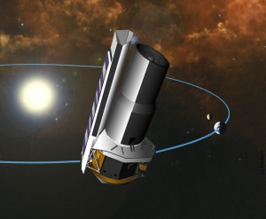 Artistic concept of the Spitzer Space Telescope in solar orbit. Photo Credit: NASA/JPL-Caltech