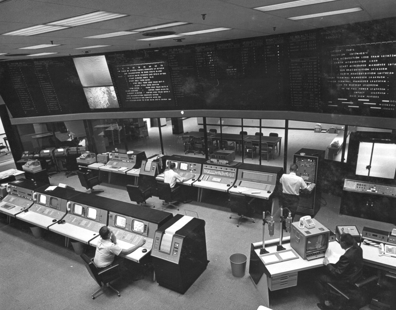 Dedicated in May 1964, the new Space Flight Operations Facility used state-of-the-art equipment for mission operations and communications with JPL's unmanned spacecraft. One of the first missions to use the facility was Ranger 7.