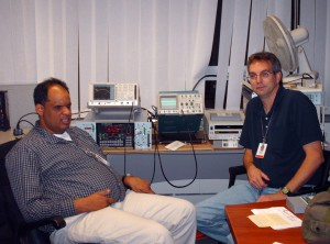 Goddard Space Flight Center employee Marco Midon (left) and Jim Evans, a Honeywell employee at Wallops Flight Facility, are seen in an office at the American Embassy in Greece, where they set up equipment used to collect data during a Soyuz capsule's reentry and landing on October 24, 2008.