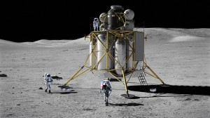 Three crewmembers work in the area of the lunar lander on the lunar surface in this NASA artist's rendering.