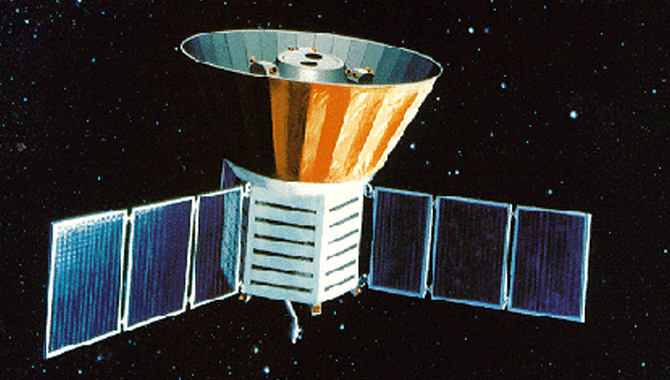 COBE was launched into an Earth orbit in 1989 to make a full sky map of the microwave radiation left over from the Big Bang. Credit: NASA