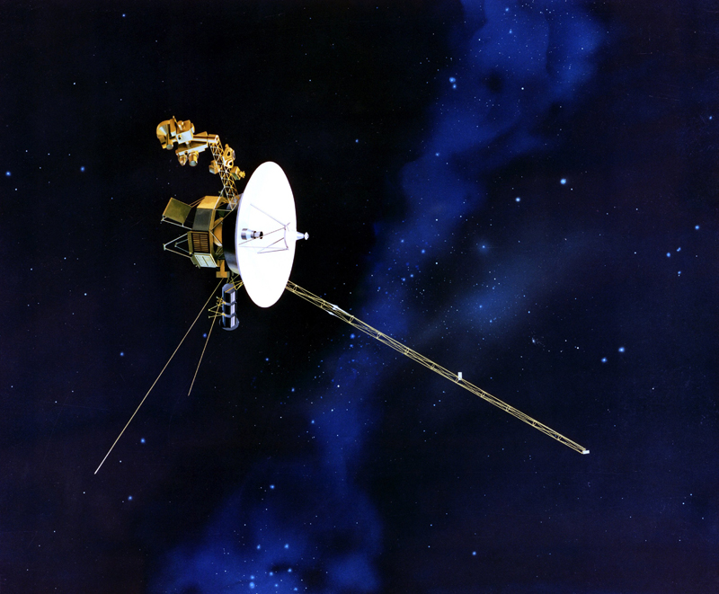 Artist's concept of the Voyager spacecraft with its antenna pointing to Earth.