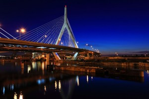 The Leonard P. Zakim Bunker Hill Bridge, part of the Big Dig project in Boston, is the widest cable-stayed bridge in the world.