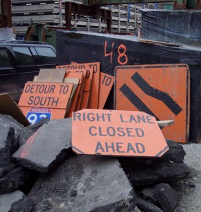 Signs from the Big Dig construction area.