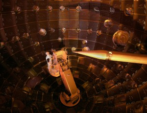 The interior of the NIF target chamber. The service module carrying technicians can be seen on the left. The target positioner, which holds the target, is on the right.