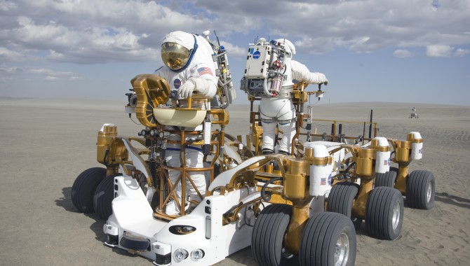 The crew mobility chassis prototype being tested at Moses Lake, Wash., as part of a series of tests of lunar surface concepts