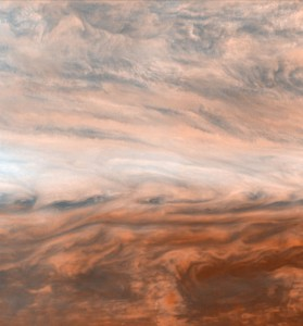 Pseudo-true-color mosaic of a belt zone boundary near Jupiter s equator. The images that make up the four quadrants of this mosaic were taken by Galileo within a few minutes of each other.