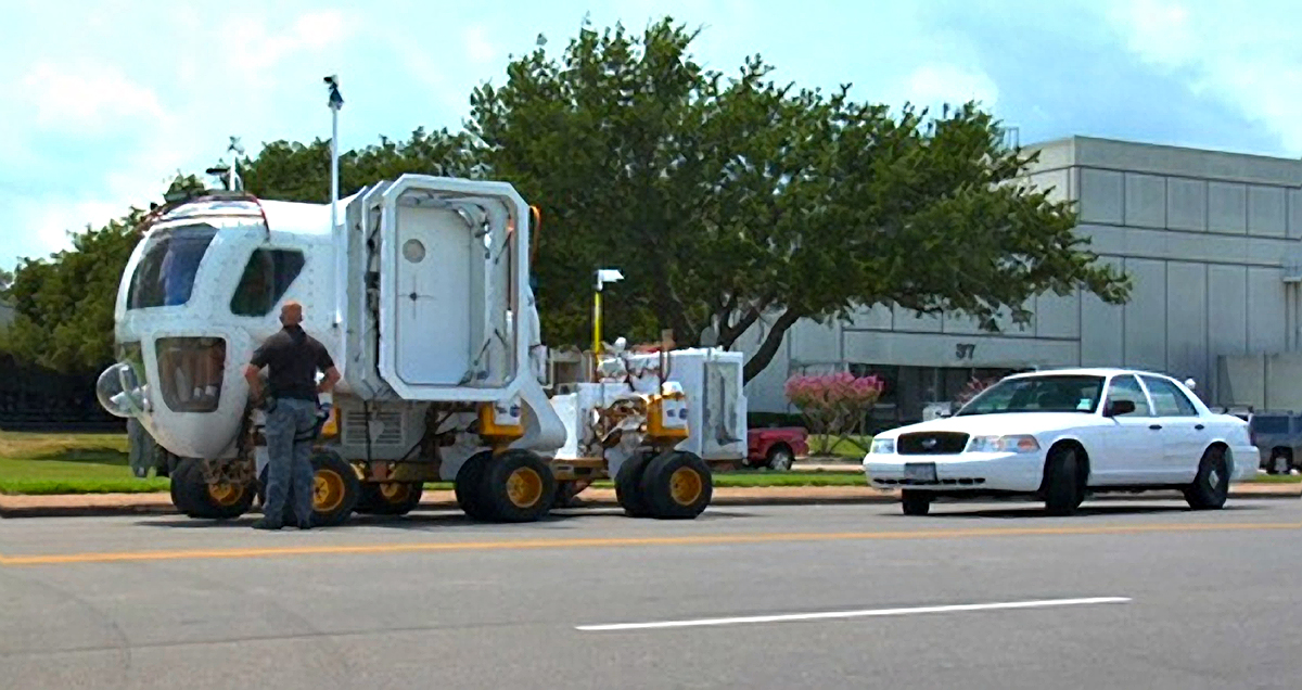 The Space Exploration Vehicle is pulled over for speeding in a NASA EDGE promo.