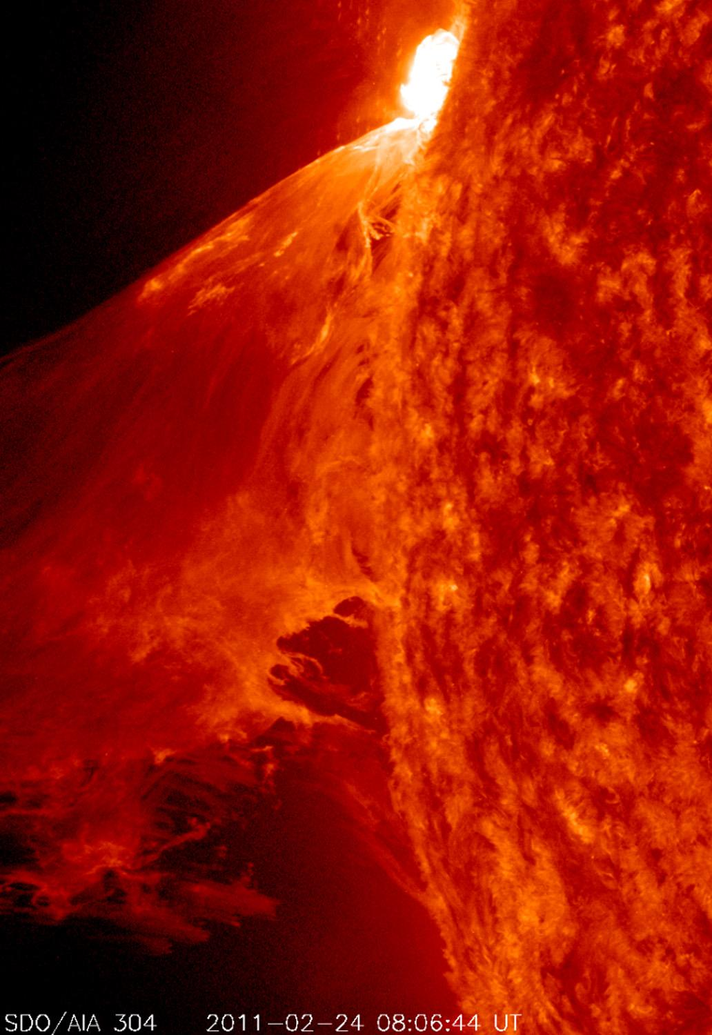 A rather large M 3.6–class flare occurred near the edge of the sun on Feb. 24, 2011