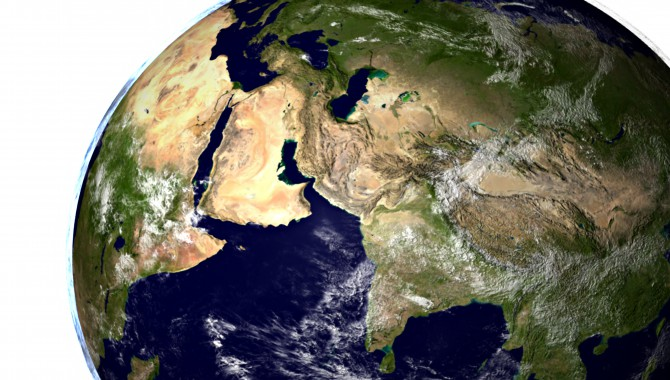 """A still from the animation, """"Global Precipitation Measurement (GPM) Mission: A fly up the Nile River in Egypt, then a pull-out into space,"""" showing Saudi Arabia, India, and the Caspian Sea. Image Credit: NASA Goddard Space Flight Center/Scientific Visualization Studio; Blue Marble Next Generation data is courtesy of Reto Stockli (Goddard) and NASA's Earth Observatory."""