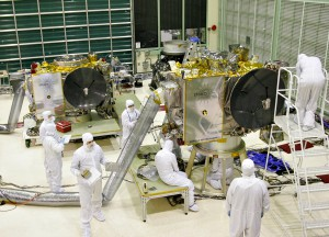 The STEREO spacecraft in the Goddard Space Flight Center cleanroom.