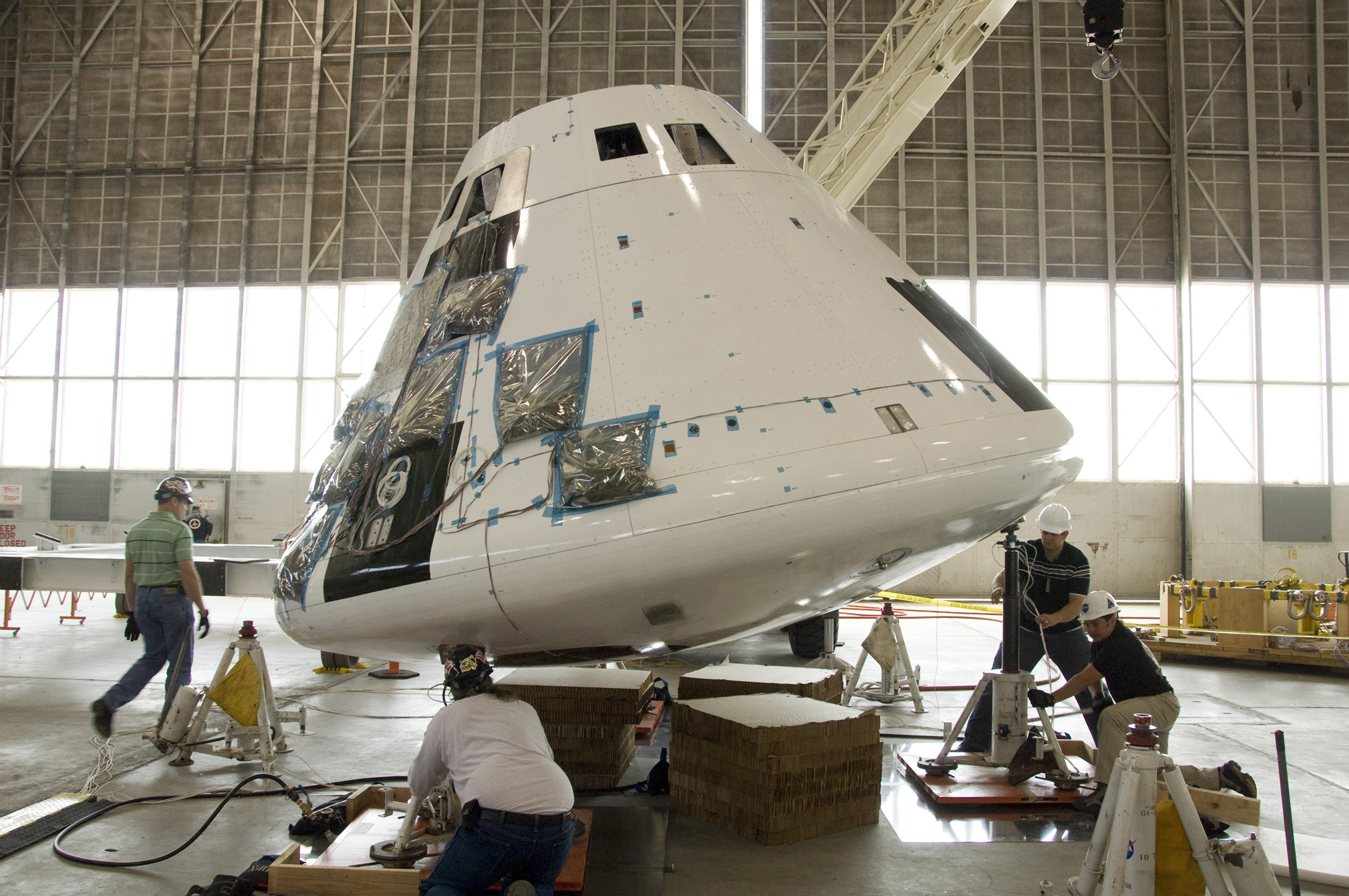 Testing the Orion crew module using air bearings.