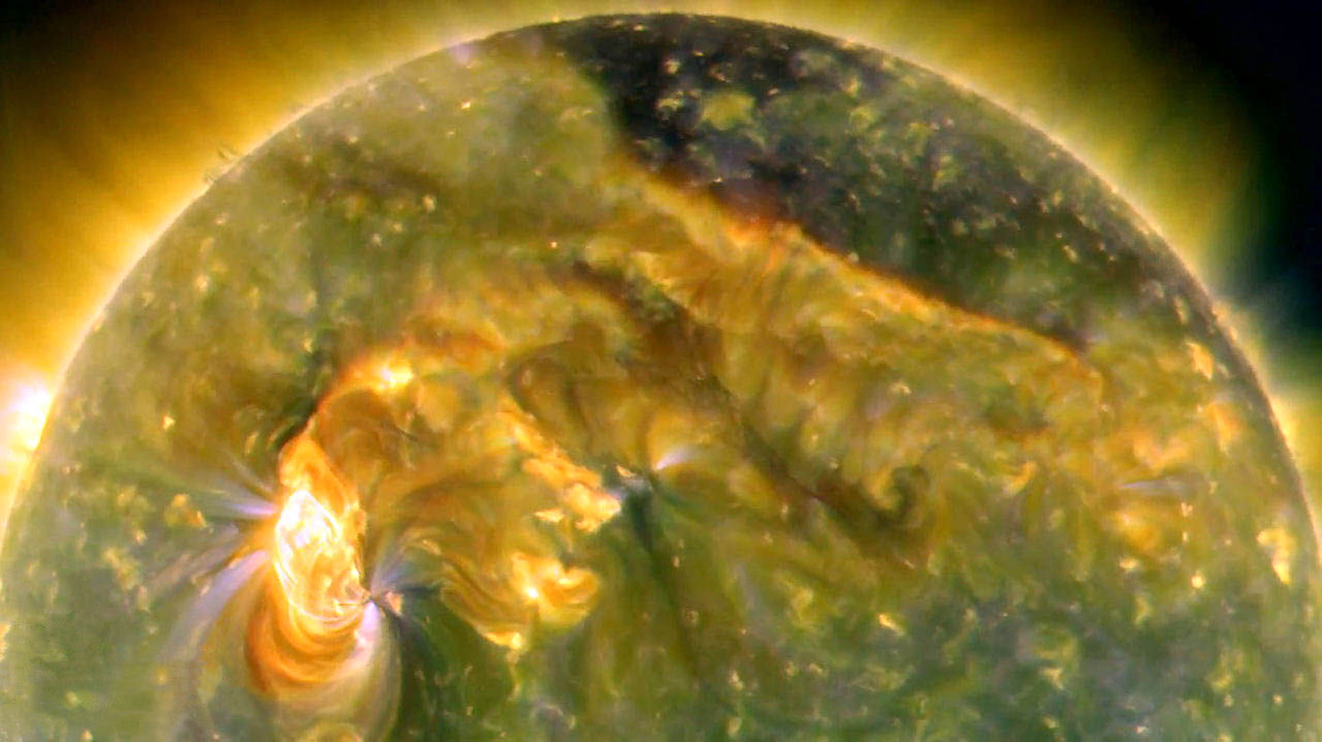 On August 1, 2010, almost the entire Earth-facing side of the sun erupted in activity from a C3-class solar flare