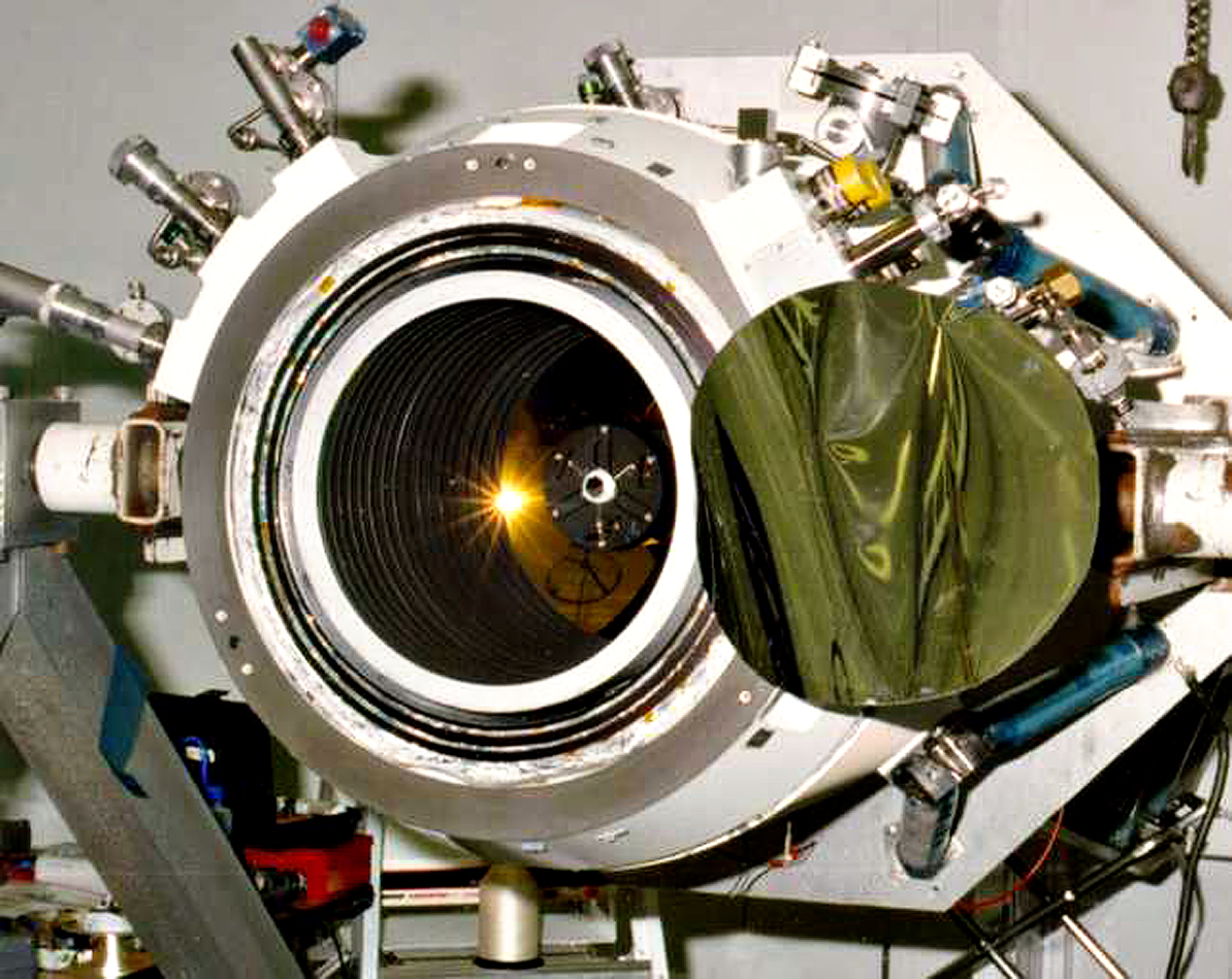 The WIRE telescope inside the cryostat assembly.