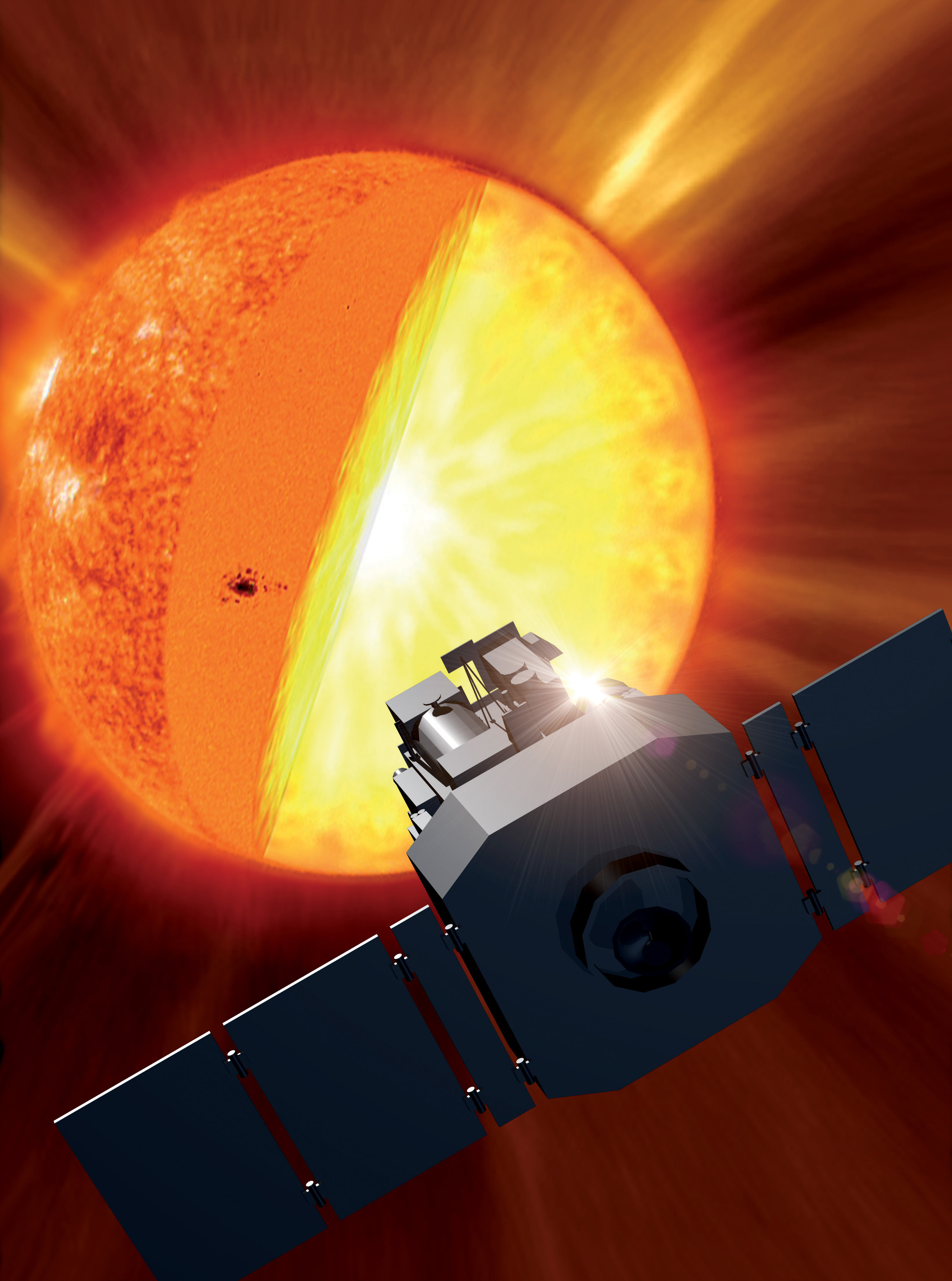 Artist's concept of the SOHO spacecraft exploring the center of the sun. In reality, the spacecraft does this indirectly, by analyzing ripples on the solar surface that come from the deep interior.