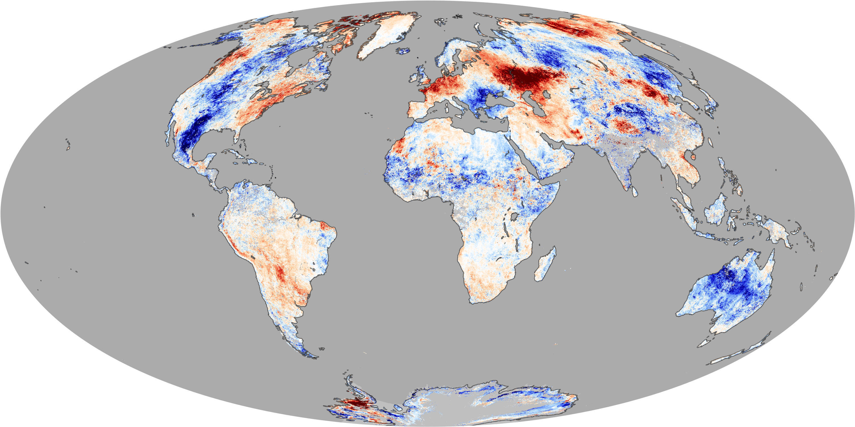 This global map shows temperature anomalies for July 4–11, 2010, compared with temperatures for the same dates from 2000 to 2008. CLARREO's ability to measure trends over a decade or more could help scientists know whether climate change will be less or more severe than expected as much as two decades earlier than current data allow.