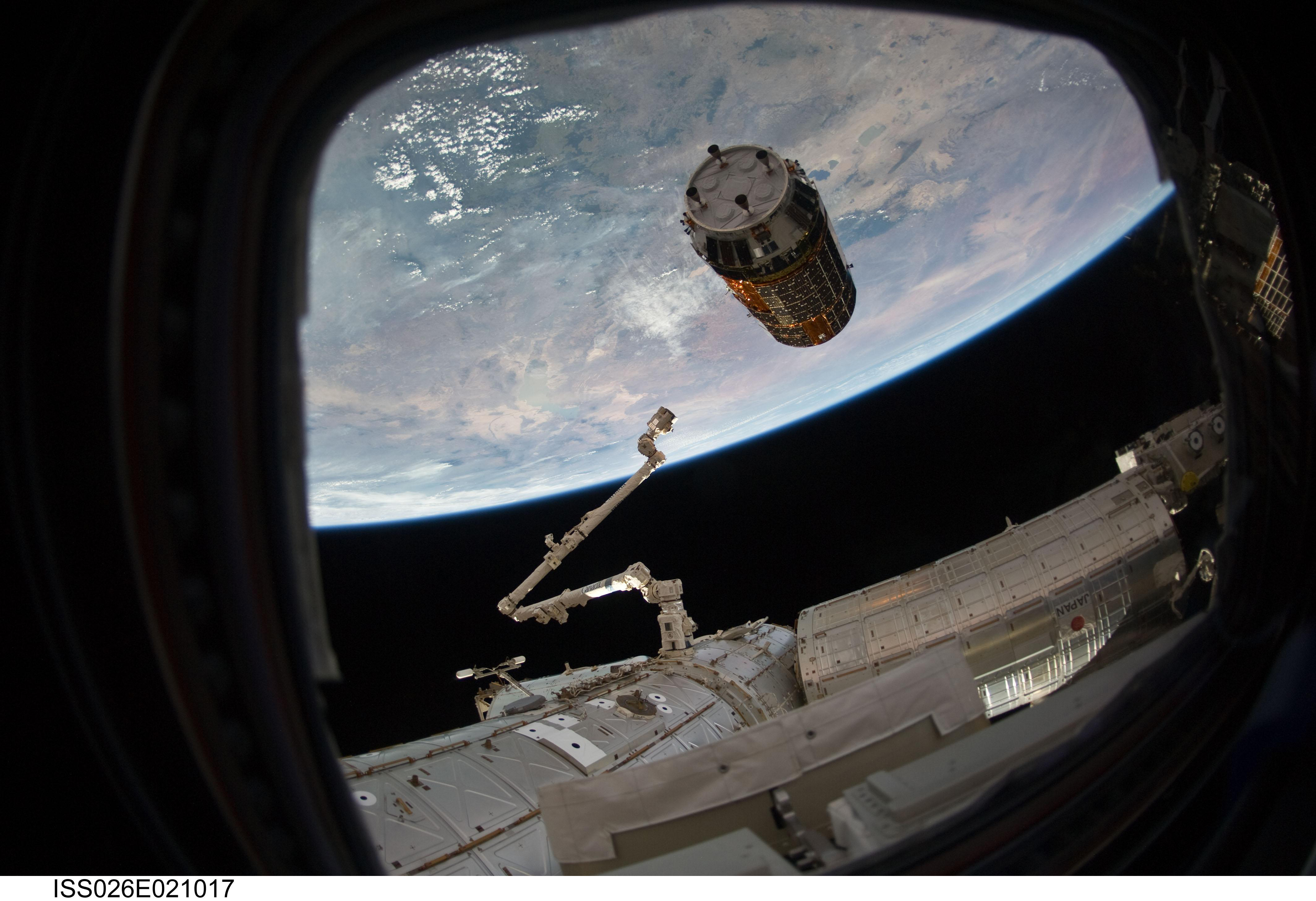The unpiloted Japanese Kounotori 2 H-II Transfer Vehicle (HTV2) approaches the ISS, delivering more than four tons of food and supplies to the space station and its crew members.