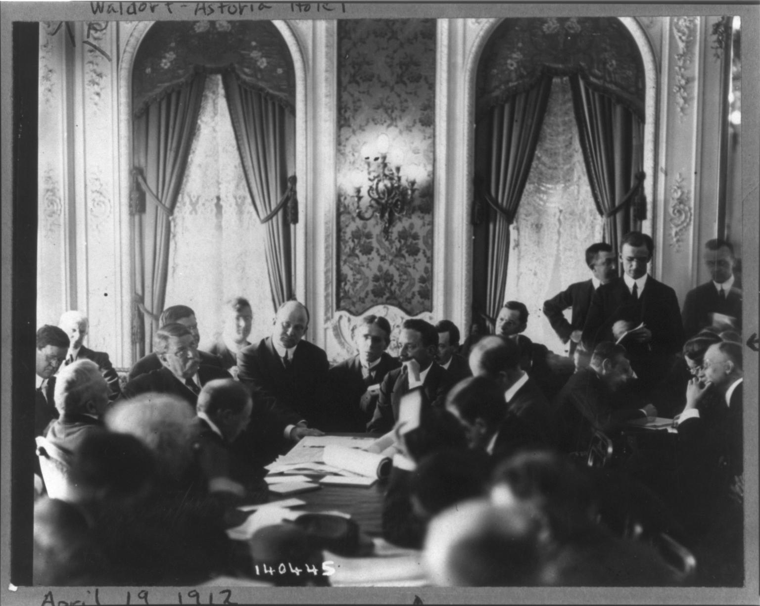 Titanic Disaster Hearings held at the Waldorf Astoria New York, April 19, 1912.