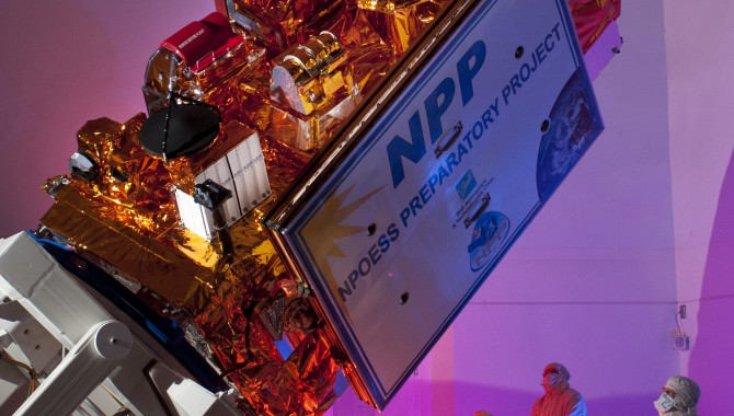 The Suomi National Polar-orbiting Partnership (NPP) satellite at the Ball Aerospace facility. The Joint Polar Satellite System will be a near clone of NPP.