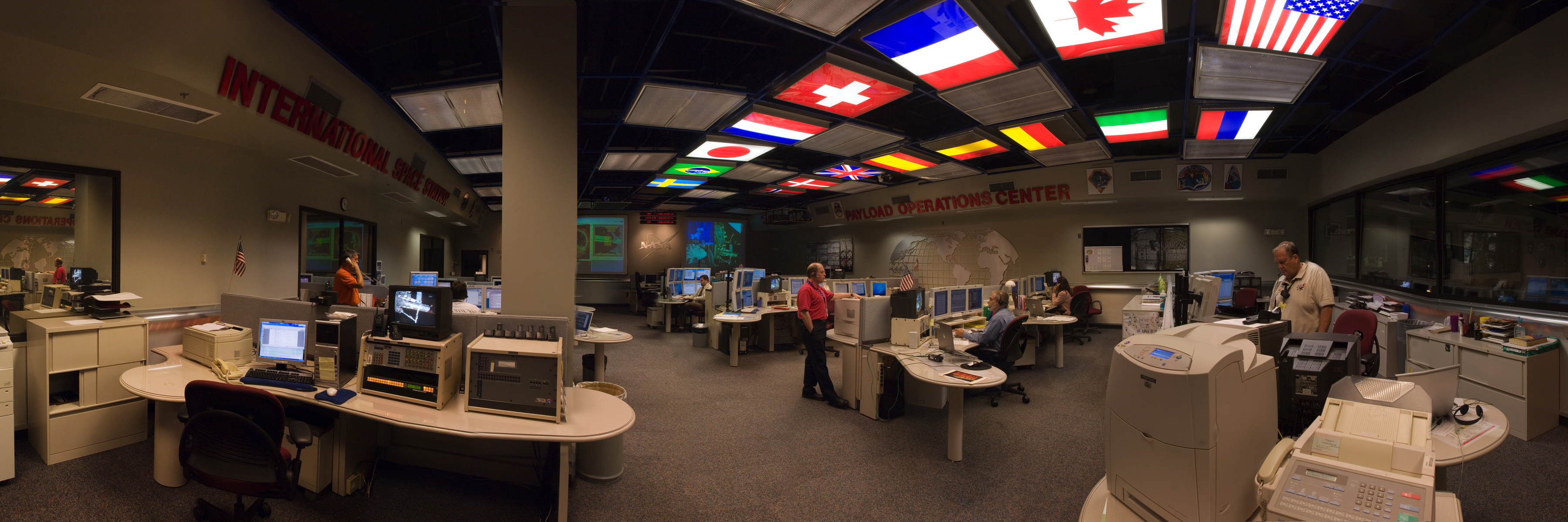 The International Space Station Payload Operations Center at Marshall Space Flight Center.