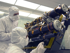 The STEREO spacecraft in the cleanroom at the Naval Research Laboratory
