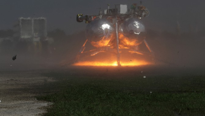 Morpheus ground-level hot fire on April 2, 2012, at Kennedy Space Center's Vertical Test Bed Flight Complex.