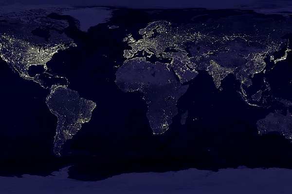 Urban areas at night. Photo Credit: NASA/DLR