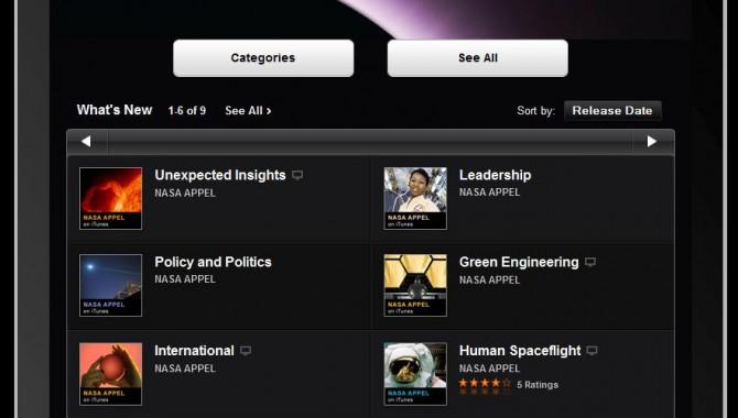 The NASA Academy's iTunes U page on an iPad.