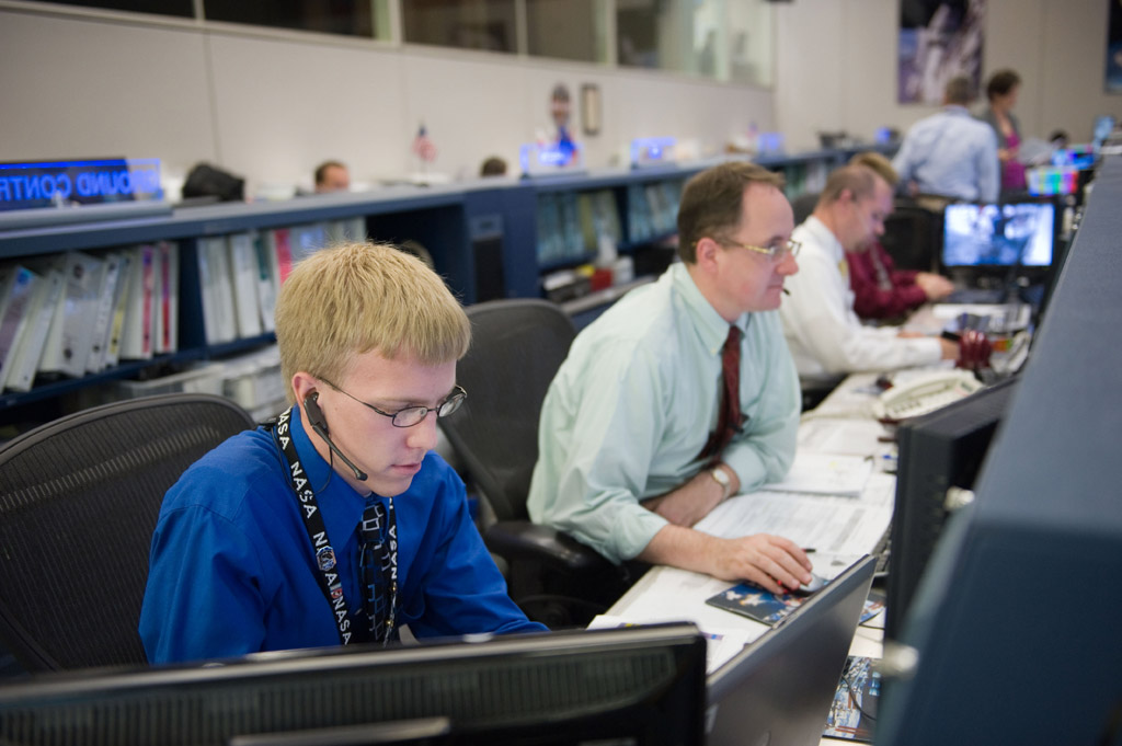 Philip Harris in the Mission Control Center at Johnson Space Center.