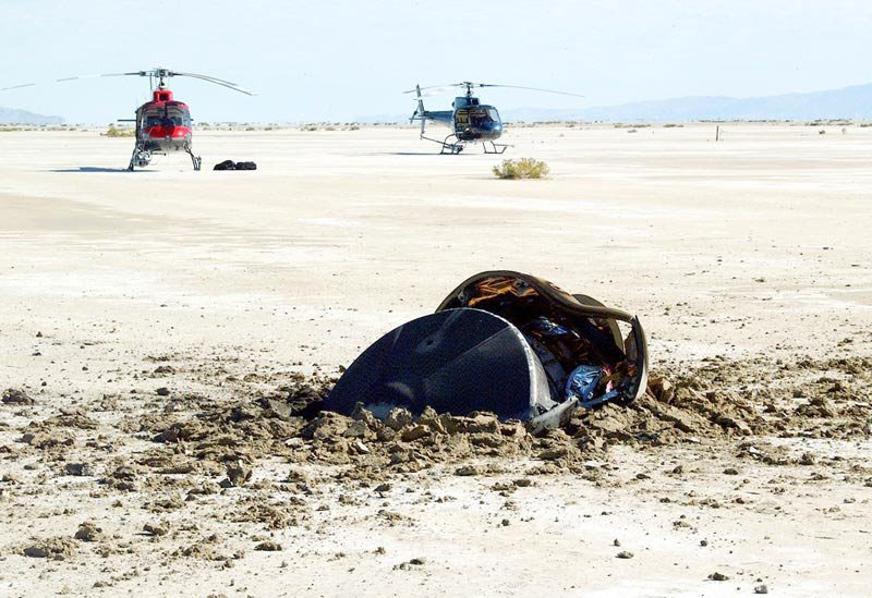 The Genesis sample return capsule crash-landing in the Utah desert.