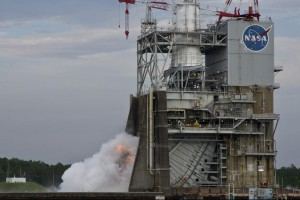 A 1.9-second ignition test of the J-2X rocket engine is conducted on the A-2 Test Stand at NASA's Stennis Space Center.
