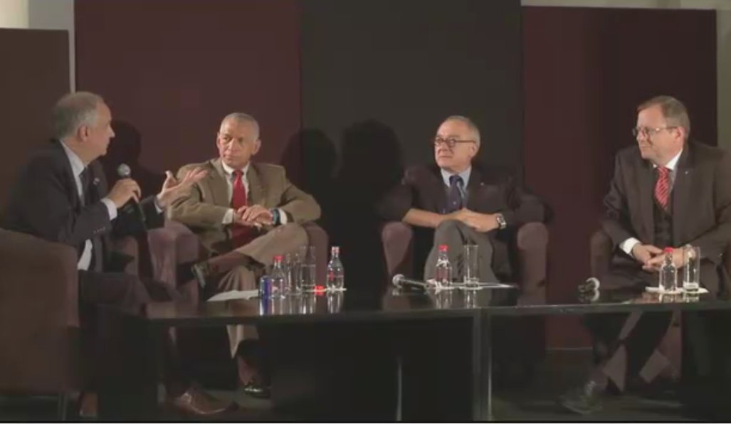 APPEL Director Ed Hoffman hosts NASA Administrator Charlie Bolden, ESA Director General Jean-Jacques Dordain, and DLR Chairman of the Executive Board Johann-Dietrich Wörner at a special young professionals Masters with Masters at the 2011 International Astronautical Conference in Cape Town, South Africa.