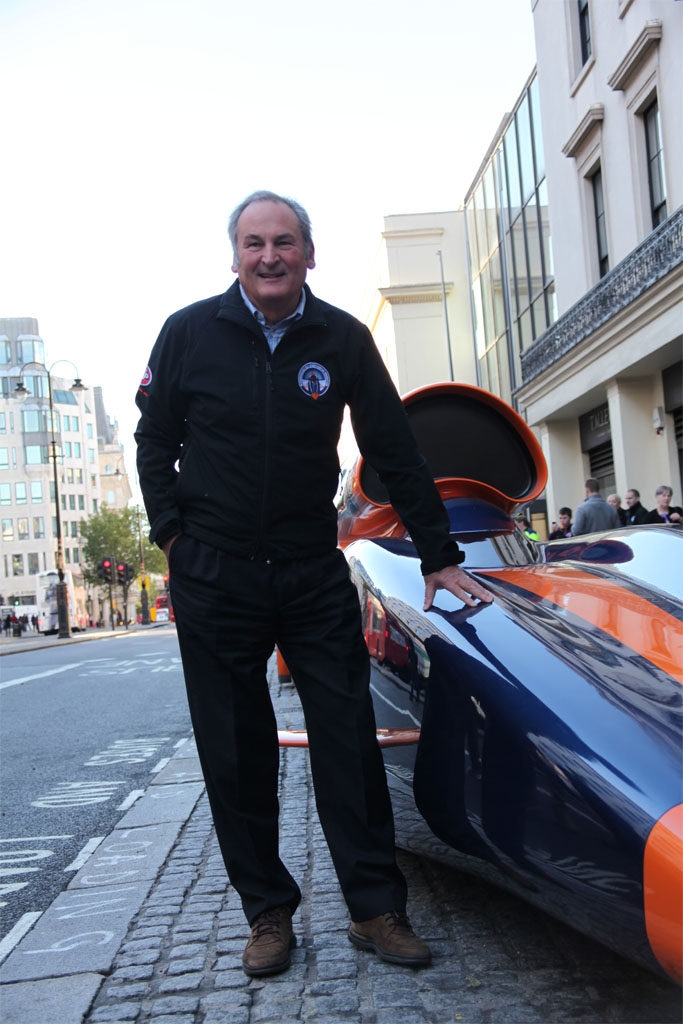The BLOODHOUND SSC Show Car outside Coutts Bank in The Strand, London. 17th October 2010. Project Director, Richard Noble OBE