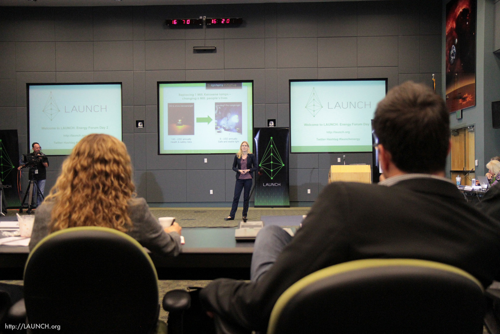 Nina Marsalek, LAUNCH innovator and COO of The Solanterns Initiative, presents to the LAUNCH council.