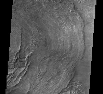 Image of landslides in the Melas Chasma on Mars taken by Mariner 9. November 13, 1971 is a red-letter date in the history of exploration. Thirty-one years ago today the American spacecraft, Mariner 9, became the first spacecraft to orbit another planet.