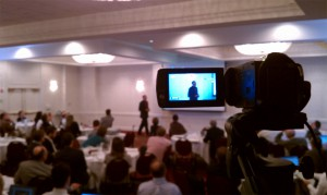Steve Jolly being filmed at APPEL's fourth Principal Investigator Forum in Annapolis, Maryland.