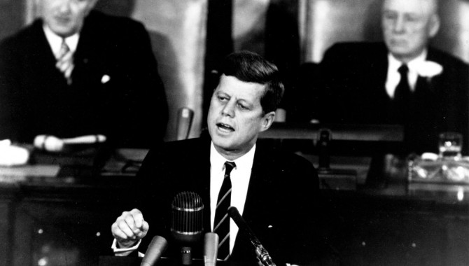 """President John F. Kennedy in his historic message to a joint session of the Congress, on May 25, 1961 declared, """"...I believe this nation should commit itself to achieving the goal, before this decade is out, of landing a man on the Moon and returning him safely to the Earth."""""""