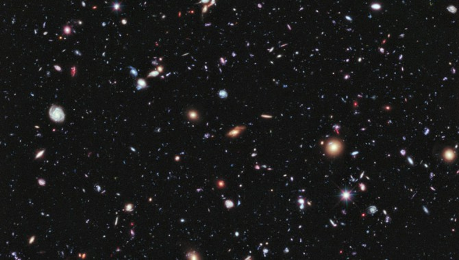 Called the eXtreme Deep Field, or XDF, the photo was assembled by combining 10 years of NASA Hubble Space Telescope photographs taken of a patch of sky at the center of the original Hubble Ultra Deep Field. The XDF is a small fraction of the angular diameter of the full moon. The Hubble Ultra Deep Field is an image of a small area of space in the constellation Fornax, created using Hubble Space Telescope data from 2003 and 2004. The new full-color XDF image is even more sensitive, and contains about 5,500 galaxies even within its smaller field of view. The faintest galaxies are one ten-billionth the brightness of what the human eye can see.