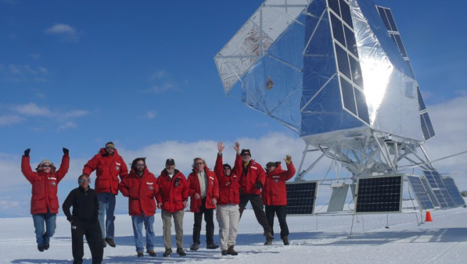 BLAST project team with their payload at McMurdo Station in Antarctica.