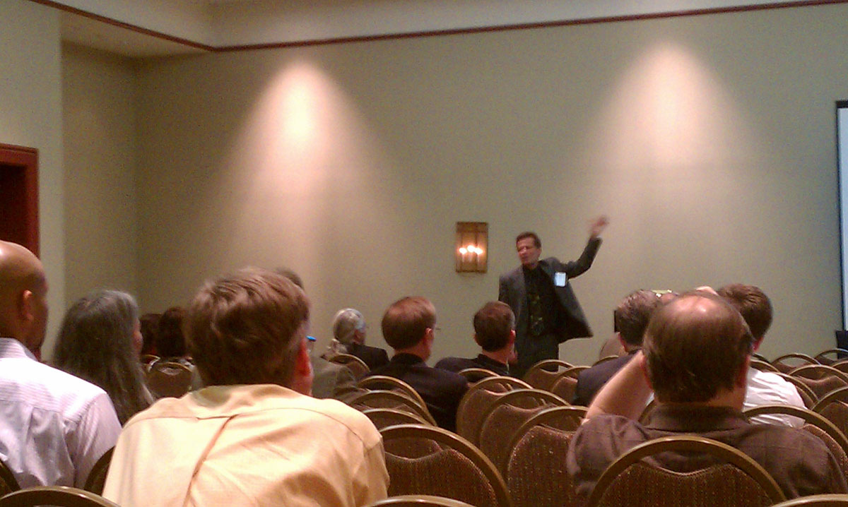 Arthur Chmielewski presenting on the psychological impacts on estimation and assessment at the 2012 NASA PM Challenge.