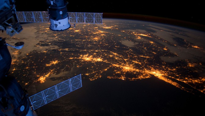 An Expedition 30 crew member aboard the International Space Station took this nighttime photograph of much of the Atlantic coast of the United States. Large metropolitan areas and other easily recognizable sites from the Virginia/Maryland/Washington, D.C. area are visible in the image that spans almost to Rhode Island. Boston is just out of frame at right. Long Island and the New York City area are visible in the lower right quadrant. Philadelphia and Pittsburgh are near the center. Parts of two Russian vehicles parked at the orbital outpost are seen in left foreground.