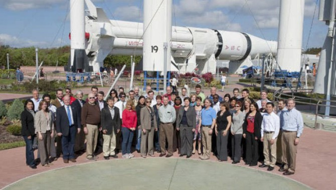 NASA APPEL Project Management #7 class at the Rocket Garden at Kennedy Space Center.