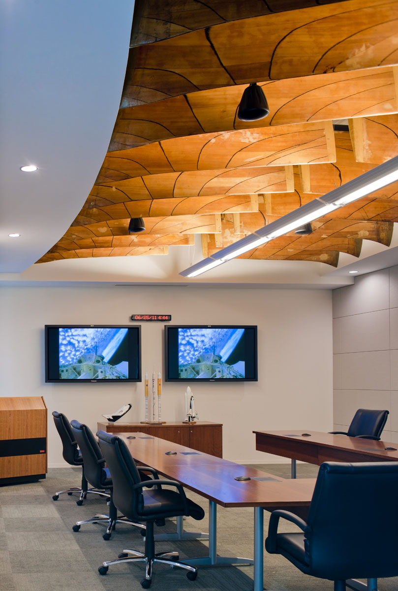 "Fan Blade Artifacts from 16-foot Transonic Tunnel installed in the third floor conference room of Langley's Headquarters (""New Town"") building."