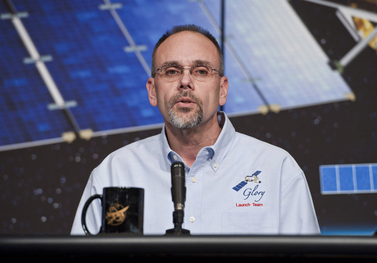 Bryan Fafaul, Glory Project Manager from Goddard Space Flight Center, talks about the launch of the GLORY mission during a news conference at NASA Headquarters, Thursday, Jan. 20, 2011, in Washington.