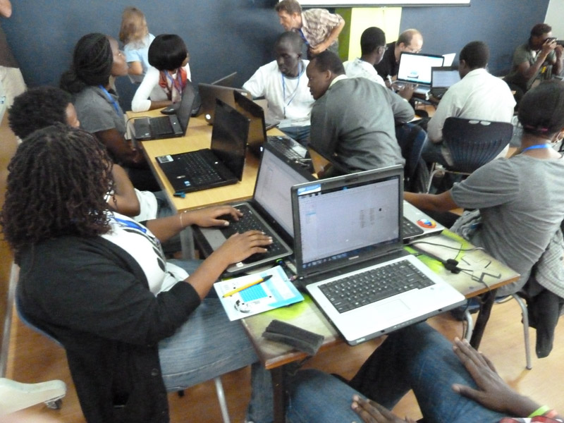 International Space Apps Challenge participants get to work on solving challenges at the iHub in Nairobi, Kenya on April 21, 2012.