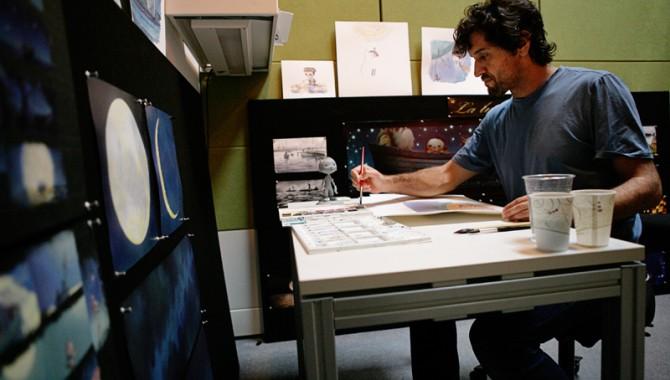 Enrico Casarosa, director of the Oscar-nominated Pixar short La Luna, painting in watercolor.