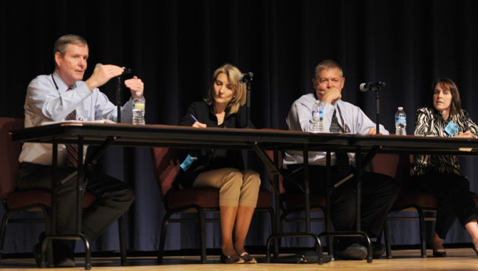 (Left to right) Bryan O'Connor, Amy Edmondson, Mike Ryschkewitsch, and Robin Dillon share insight into organizational silence on a panel at Goddard Space Flight Center on July 31, 2012.