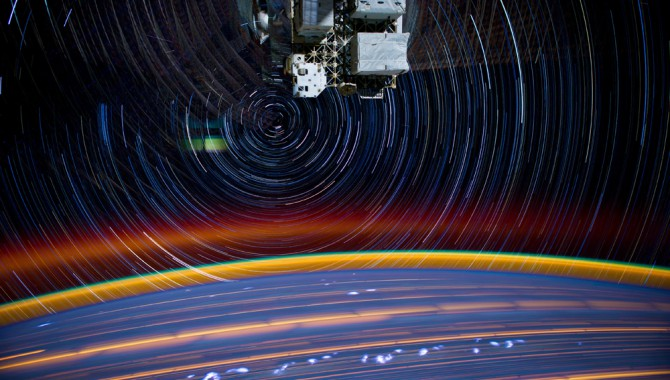 "COVERThis is a composite of a series of images photographed from a mounted camera on the Earth-orbiting International Space Station, from approximately 240 miles above Earth. Expedition 31 Flight Engineer Don Pettit said of the photographic techniques used to achieve the images: ""My star-trail images are made by taking a time exposure of about 10 to 15 minutes. However, with modern digital cameras, 30 seconds is about the longest exposure possible, due to electronic-detector noise effectively snowing out the image. To achieve the longer exposures I do what many amateur astronomers do. I take multiple 30-second exposures, then 'stack' them using imaging software, thus producing the longer exposure."" A total of 18 images photographed by the astronaut-monitored stationary camera were combined to create this composite."