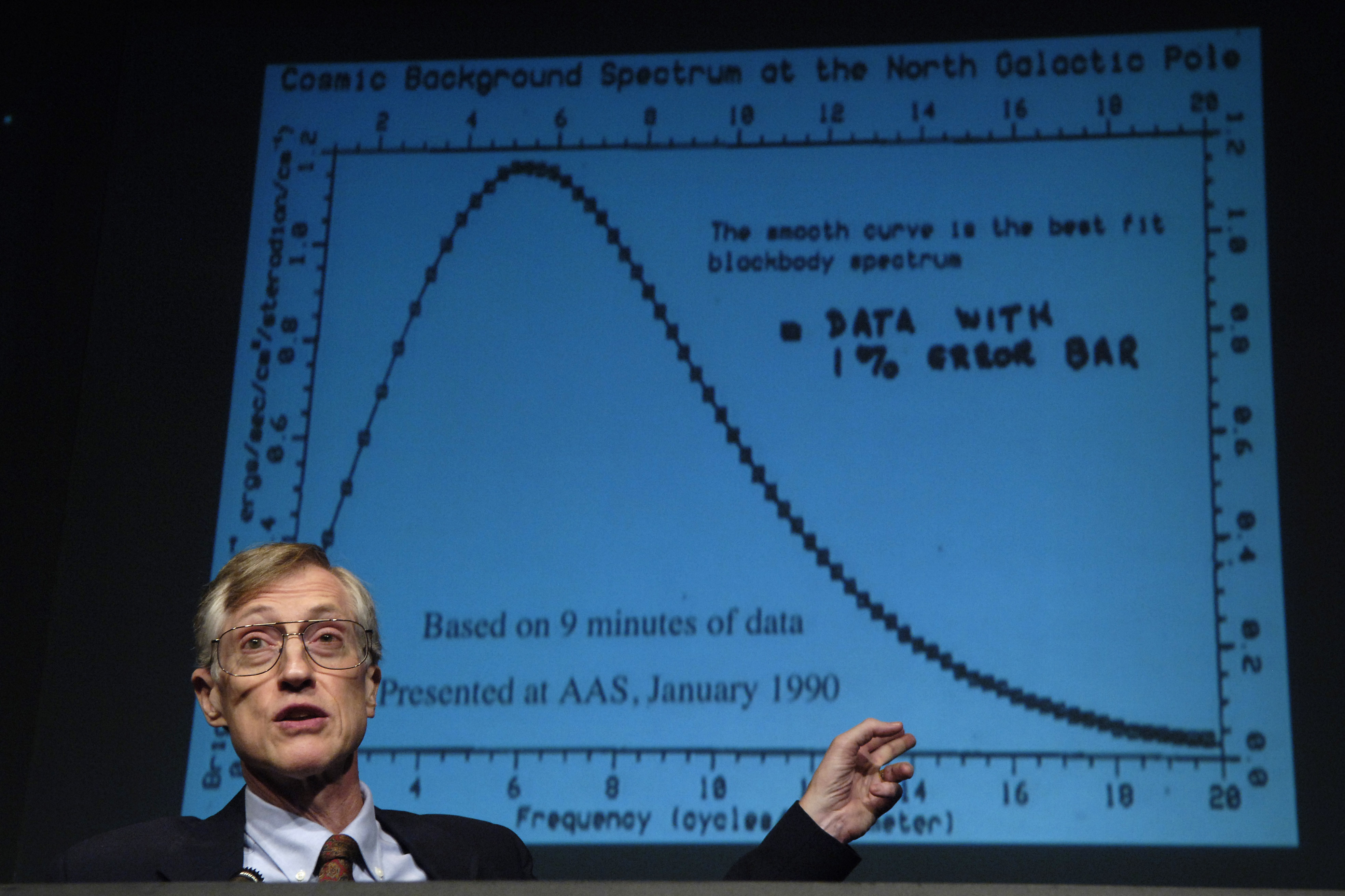 NASA scientist Dr. John C. Mather shows some of the earliest data from the NASA Cosmic Background Explorer (COBE) spacecraft during a press conference held on Oct. 6, 2006, at NASA Headquarters in Washington, DC. Dr. Mather shares the 2006 Nobel Prize for Physics with George F. Smoot of the University of California for their collaborative work on understanding the Big Bang.