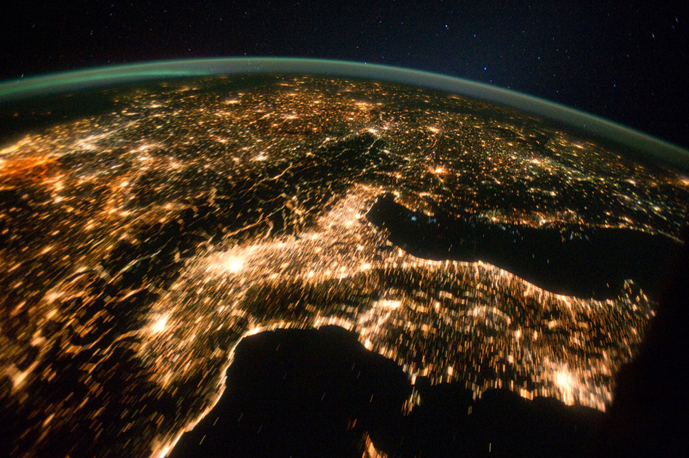 This is one of a series of nighttime images photographed by one of the Expedition 29 crew members from the International Space Station. It features Central and Eastern Europe, extending from the Netherlands to Hungary and Italy to northern Poland. Overall, the view includes the Netherlands, Italy, Germany, Poland, and Hungary. When the photo was taken on Oct 2, 2011, the station was over Corsica at 43.18 degrees north latitude and 9.95 degrees east longitude.